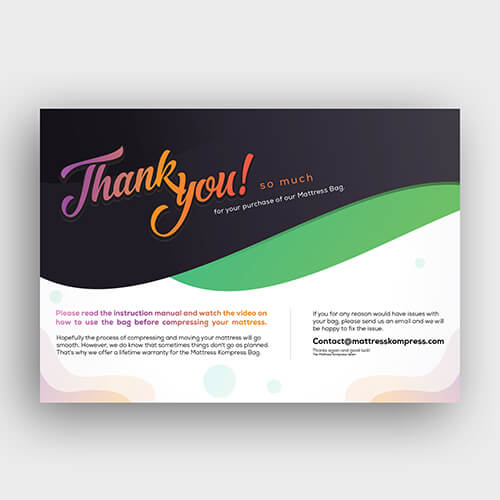 Mattress Kompress- Amazon FBA Product Insert, Flyer, Thank You, Amazon Image Infographics