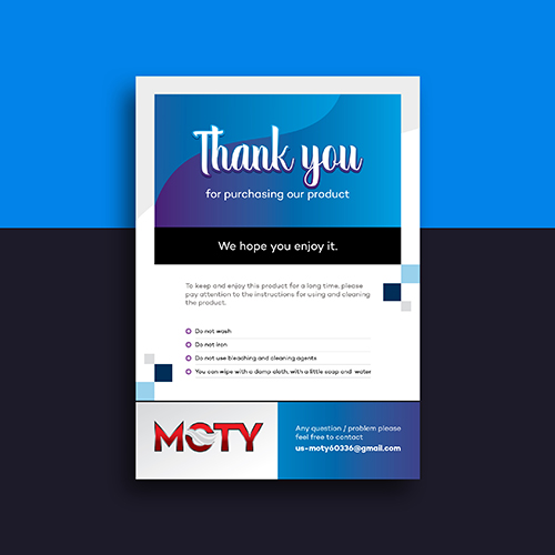 Moty- Amazon Product Insert, Flyer, Thank You Design